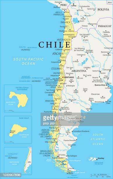 map of chile - vector - chile stock illustrations