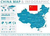 Map of China - Infographic Vector