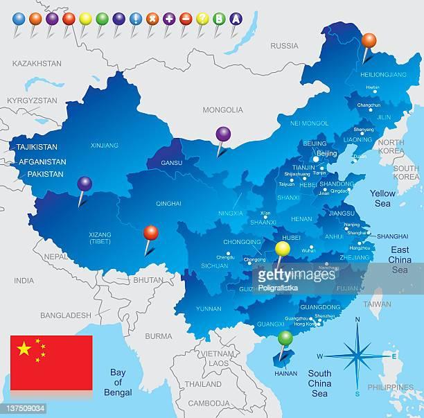 ilustrações, clipart, desenhos animados e ícones de mapa da china - província de guangdong