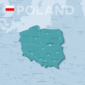 Map of cities and roads in Poland.