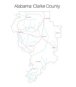 Map of Clarke county in Alabama