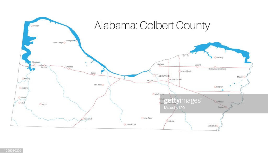 Map of Colbert county in Alabama