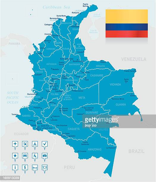 Map of Colombia - states, cities, flag and navigation icons