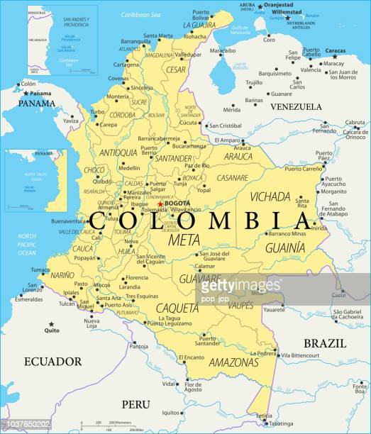 map of colombia - vector - colombia stock illustrations