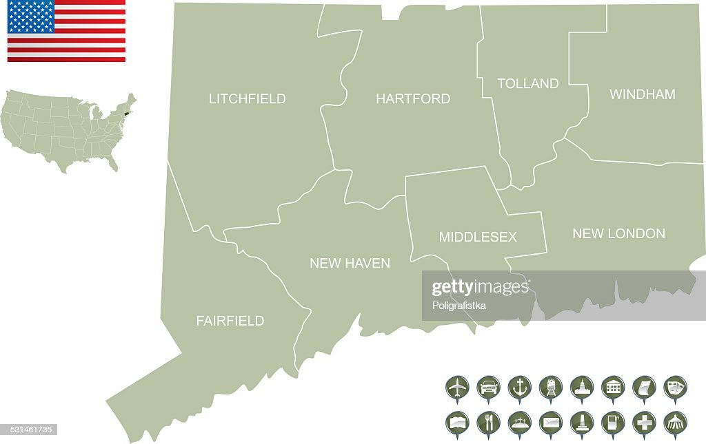 Map of Connecticut : stock illustration