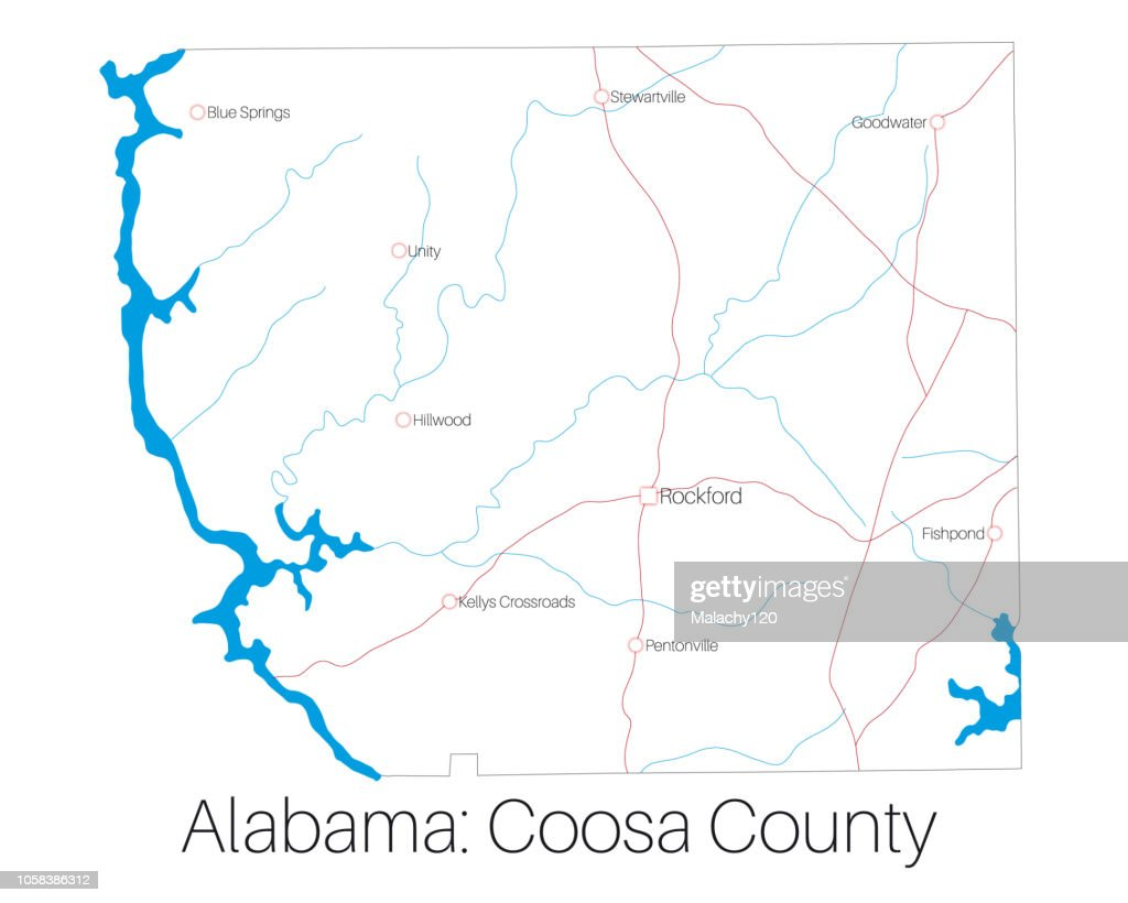 Map of Coosa county in Alabama