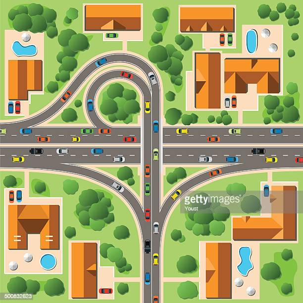 map of cottage village - overpass road stock illustrations