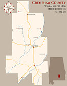 Map of Crenshaw County in Alabama