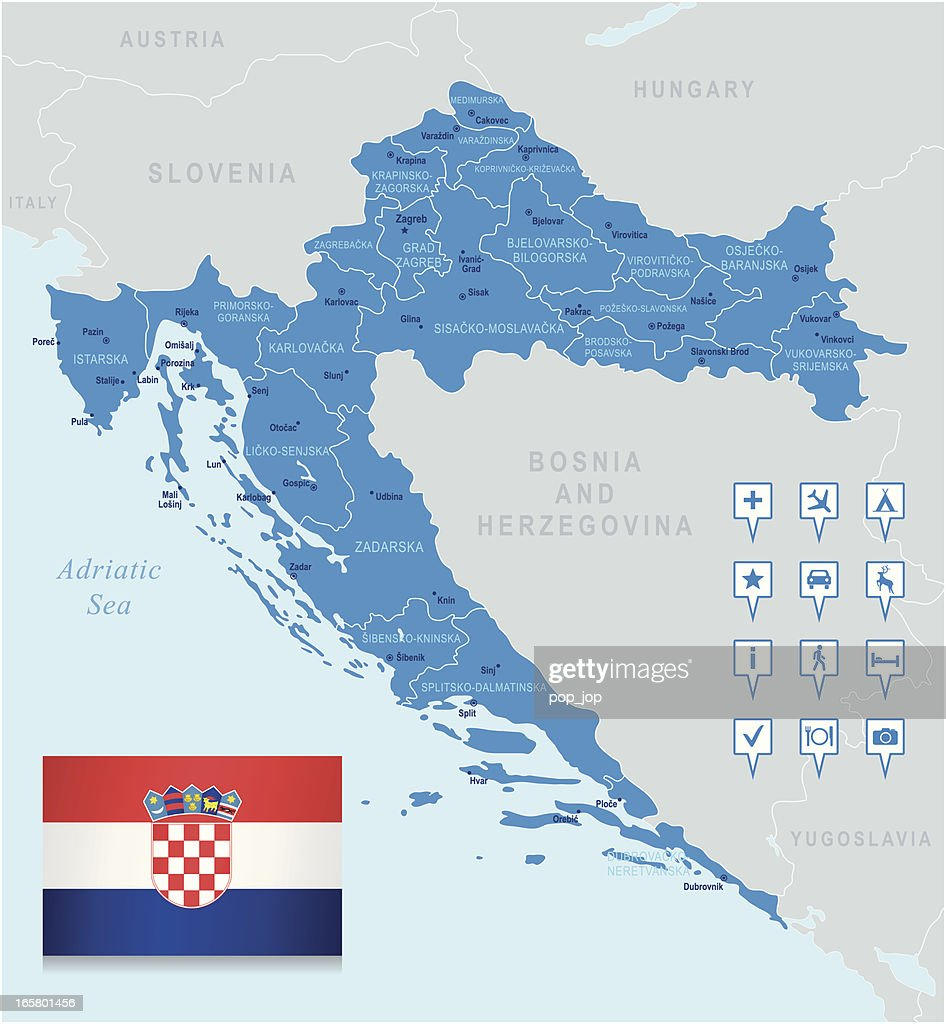 Map of Croatia - states, cities, flag, navigation icons : stock illustration