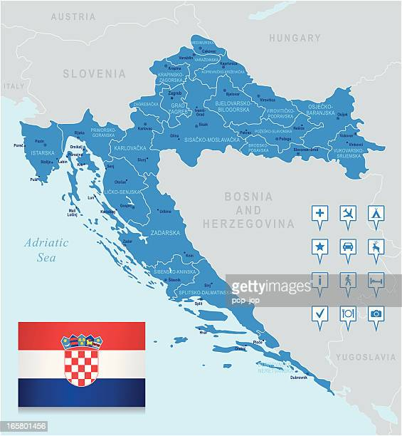 Map of Croatia - states, cities, flag, navigation icons