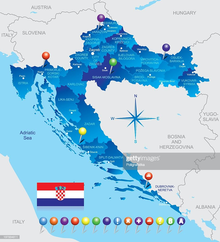 Map of Croatia : stock illustration