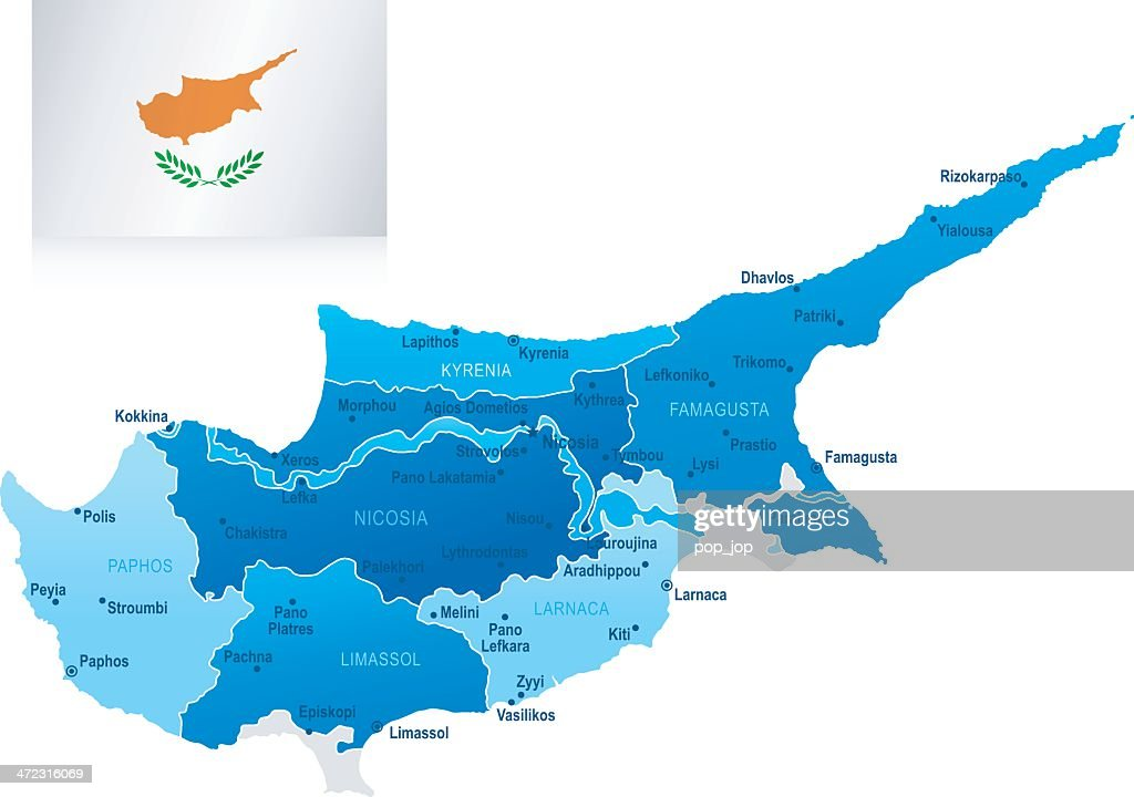Map of cyprus states cities and flag vector art getty images map of cyprus states cities and flag vector art gumiabroncs Image collections