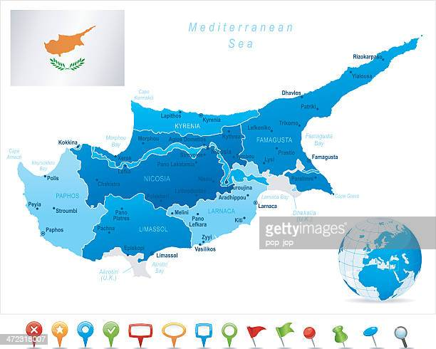 stockillustraties, clipart, cartoons en iconen met map of cyprus - states, cities, flag and icons - cyprus