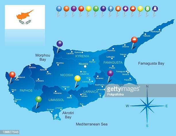 illustrazioni stock, clip art, cartoni animati e icone di tendenza di mappa di cipro - repubblica di cipro