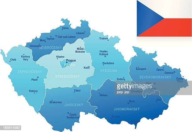 Map of Czech republic - states, cities, flag, navigation icons