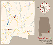 Map of Dale County in Alabama