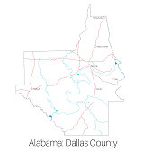 Map of Dallas county in Alabama