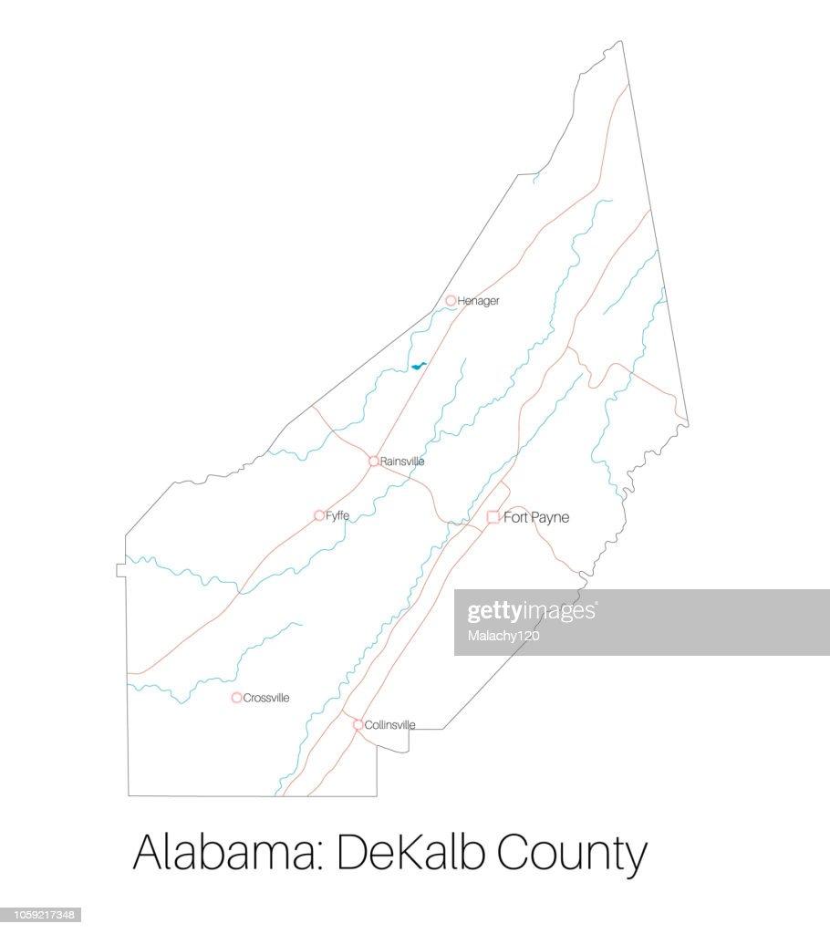 Map of DeKalb county in Alabama