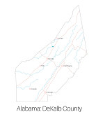 Map of DeKalb county in Alabama