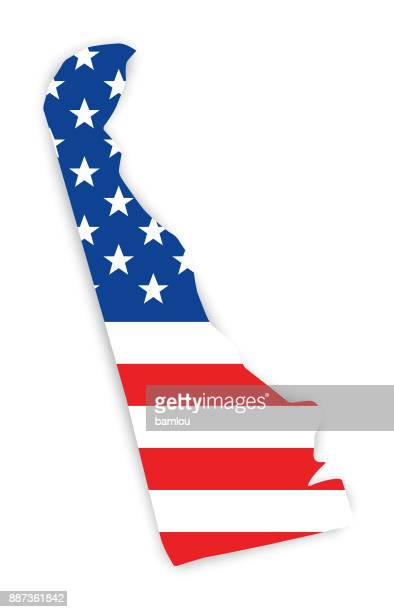 Map of Delaware with Flag as background