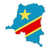 map of Democratic Republic of the Congo with flag inside. Democratic Republic of the Congo map vector illustration