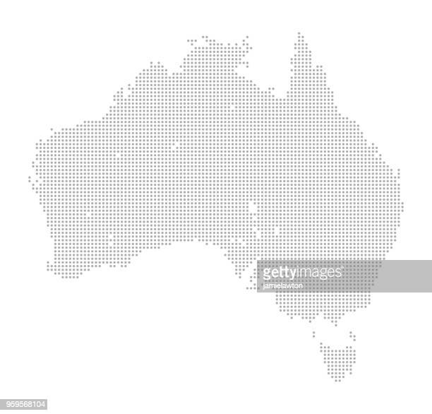 illustrazioni stock, clip art, cartoni animati e icone di tendenza di map of dots - australia and tasmania - australia