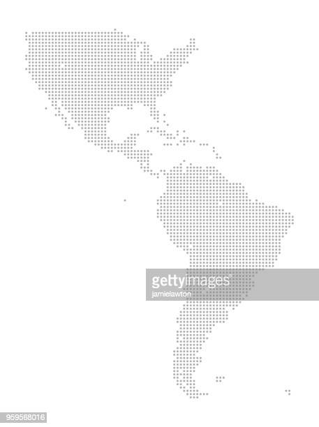 map of dots - north and south america - latin america stock illustrations, clip art, cartoons, & icons