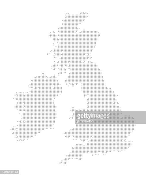 map of dots - united kingdom of great britain and ireland - spotted stock illustrations