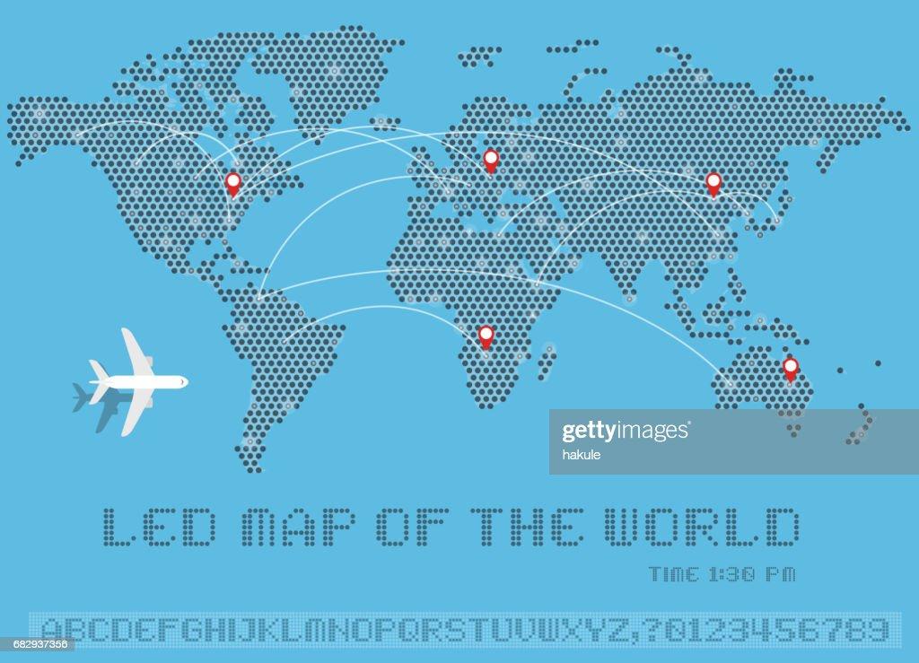 Map of dots world led uppercase english alphabet number vector map of dots world led uppercase english alphabet number vector illustration vector art gumiabroncs Choice Image
