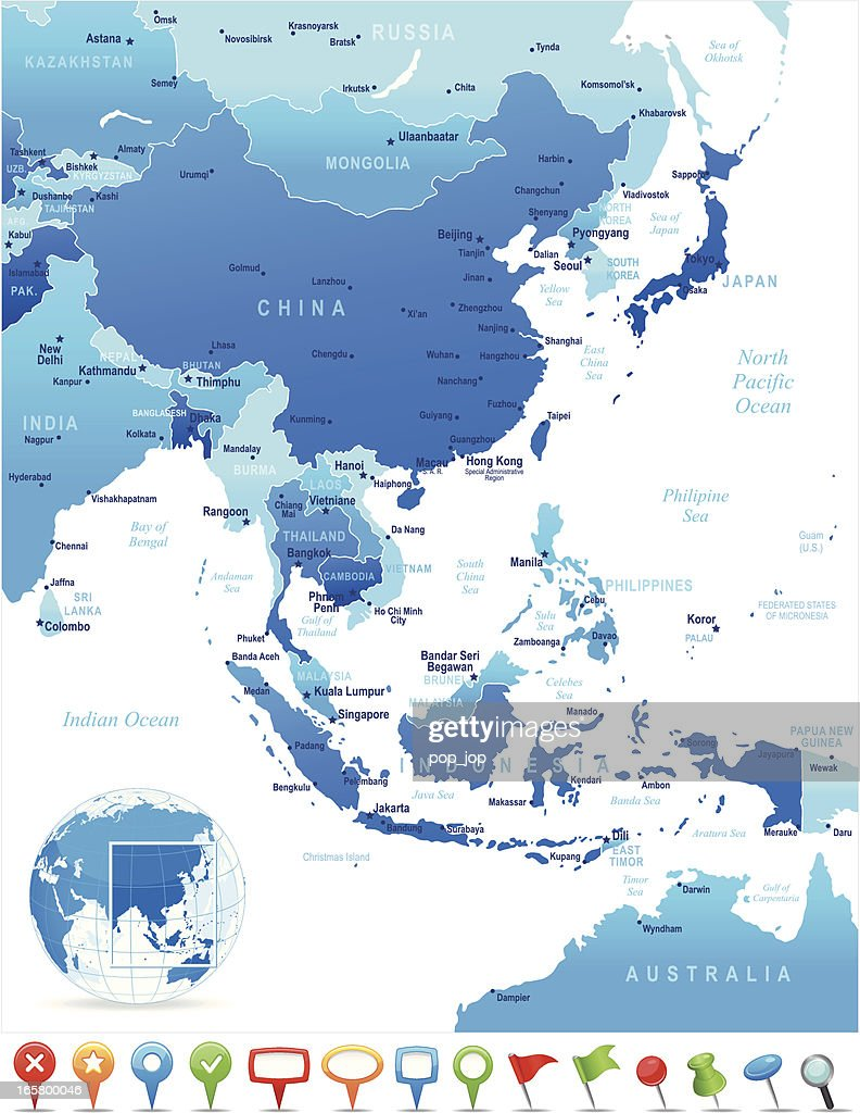 map of east asia countries cities and navigation icons