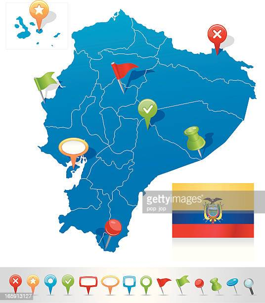 Map of Ecuador with navigation icons