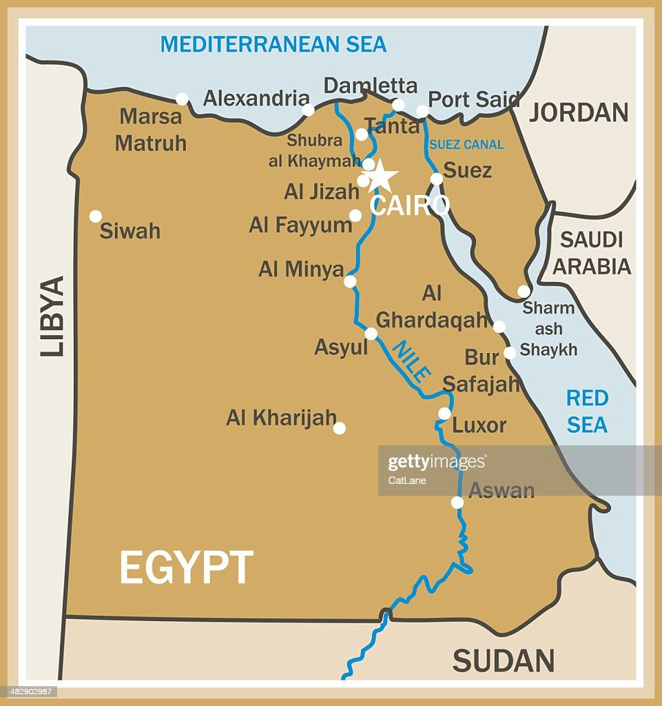 Map Of Egypt States Cities And Flag Vector Art Getty Images
