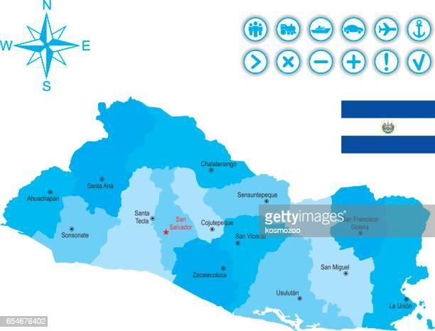 フラグは、アイコンとキーとエルサルバドルの地図 - エルサルバドル国旗点のイラスト素材/クリップアート素材/マンガ素材/アイコン素材