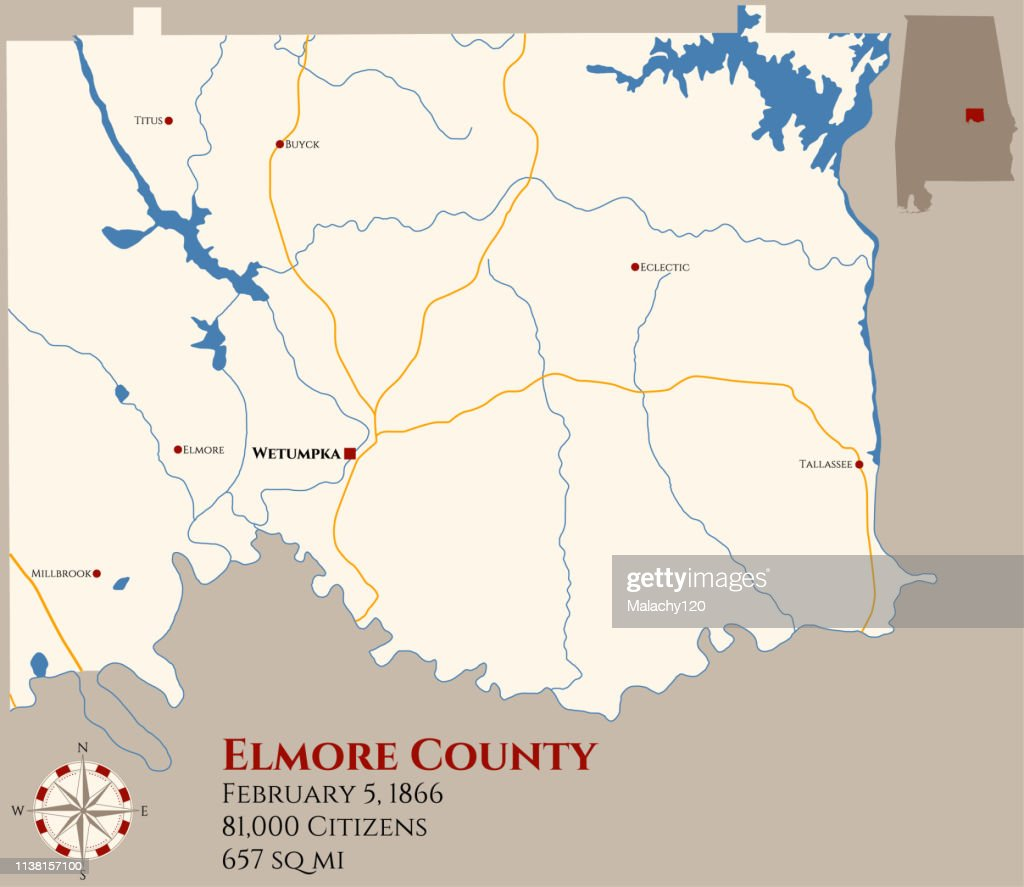 Map of Elmore County in Alabama