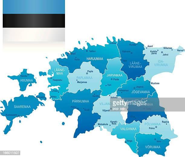 map of estonia - states, cities and flag - estonia stock illustrations