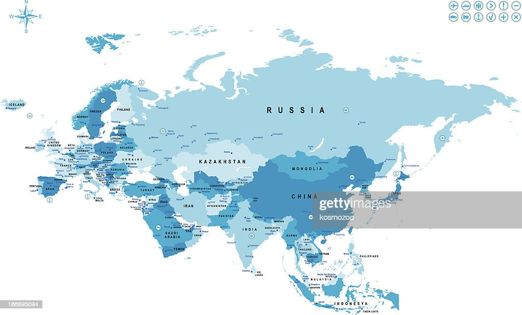 Map of Eurasia with countries and major cities marked