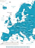 Map of Europa with countries and important cities