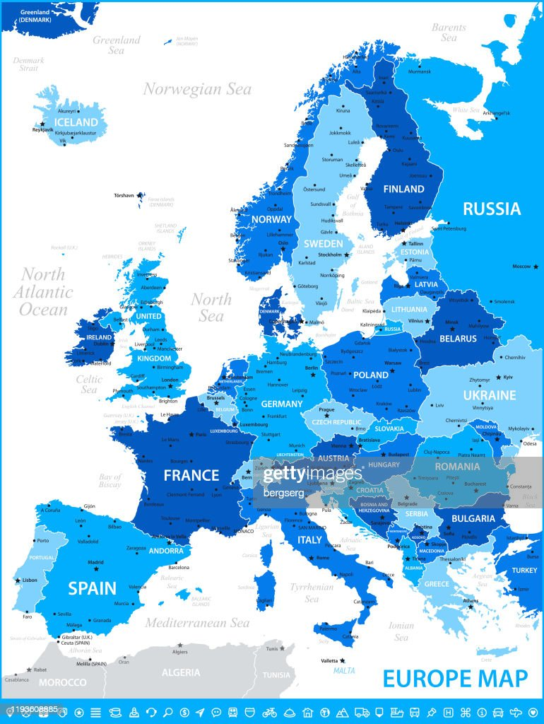 Picture of: Map Of Europe Vector Illustration With Rivers And France Germany Spain And Poland High Res Vector Graphic Getty Images