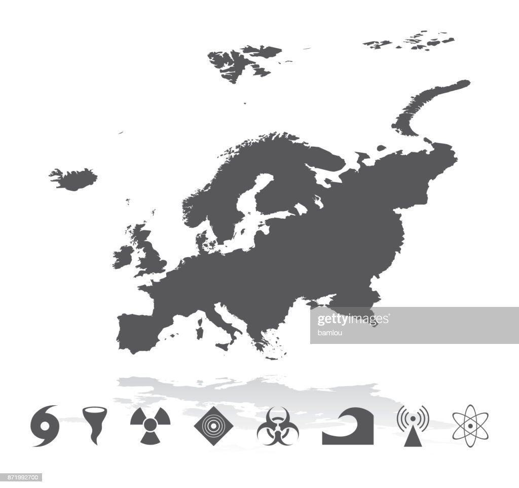 Map of Europe with Disaster Icons Set : stock illustration