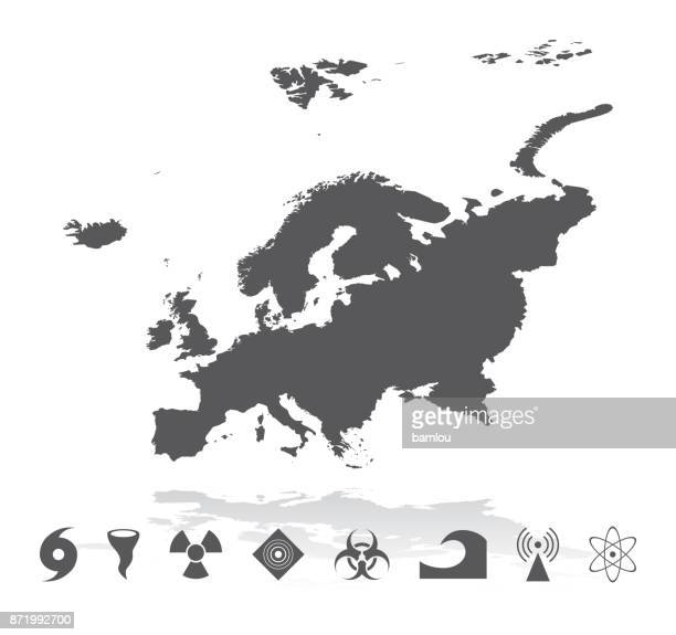 map of europe with disaster icons set - iberian peninsula stock illustrations, clip art, cartoons, & icons
