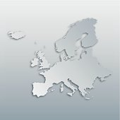 Map of Europe with paper cut effect