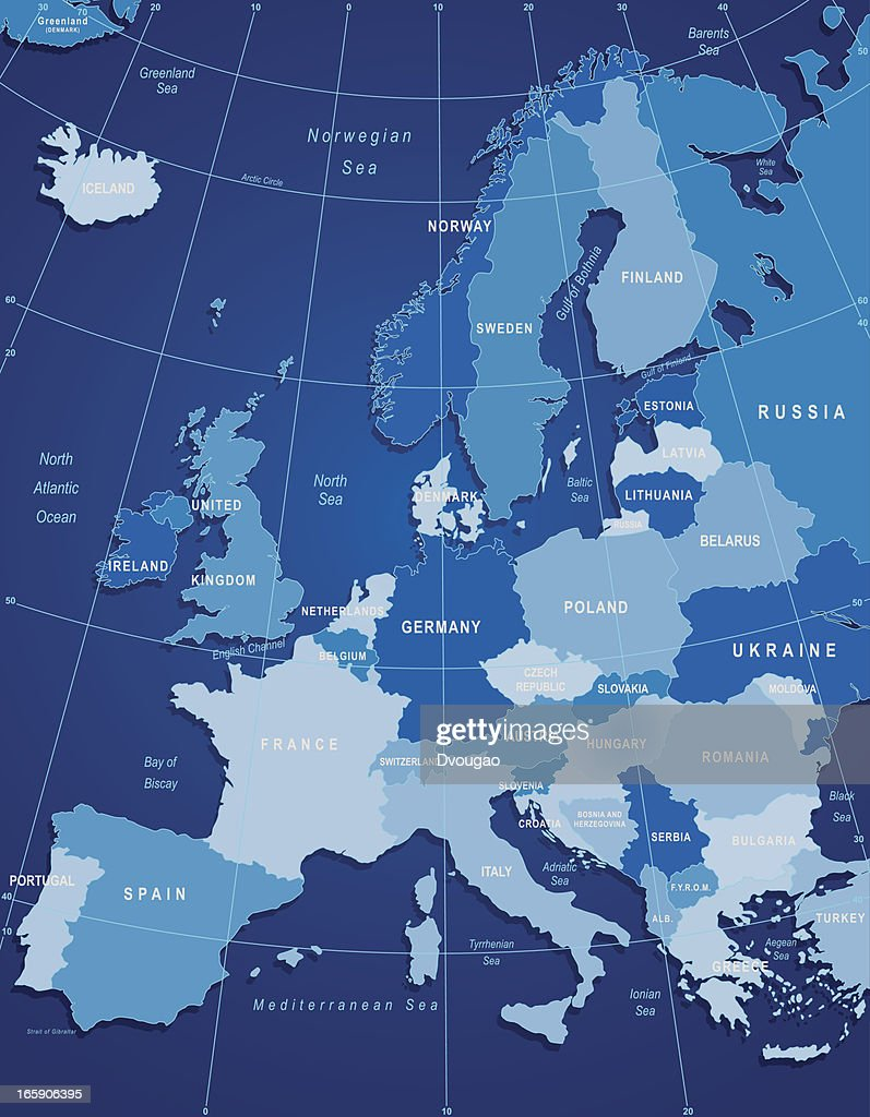 Map Of Europe-Blue