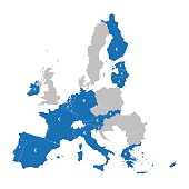 map of Eurozone member countries
