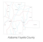 Map of Fayette county in Alabama