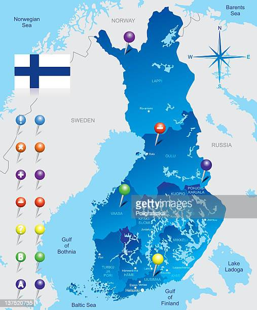 map of finland - helsinki stock illustrations, clip art, cartoons, & icons