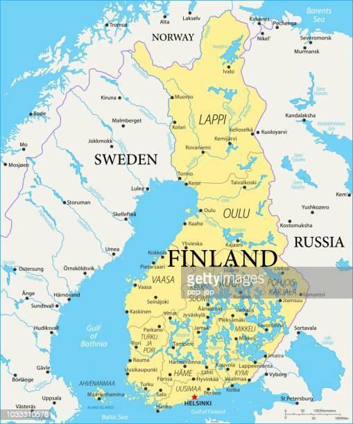 map of finland - vector - helsinki stock illustrations, clip art, cartoons, & icons