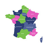 Map of France divided into 13 administrative metropolitan regions, since 2016. Four colors. Vector illustration