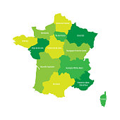 Map of France divided into 13 administrative metropolitan regions, since 2016. Four shades of green. Vector illustration