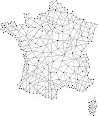 Map of France from polygonal black lines and dots of vector illustration