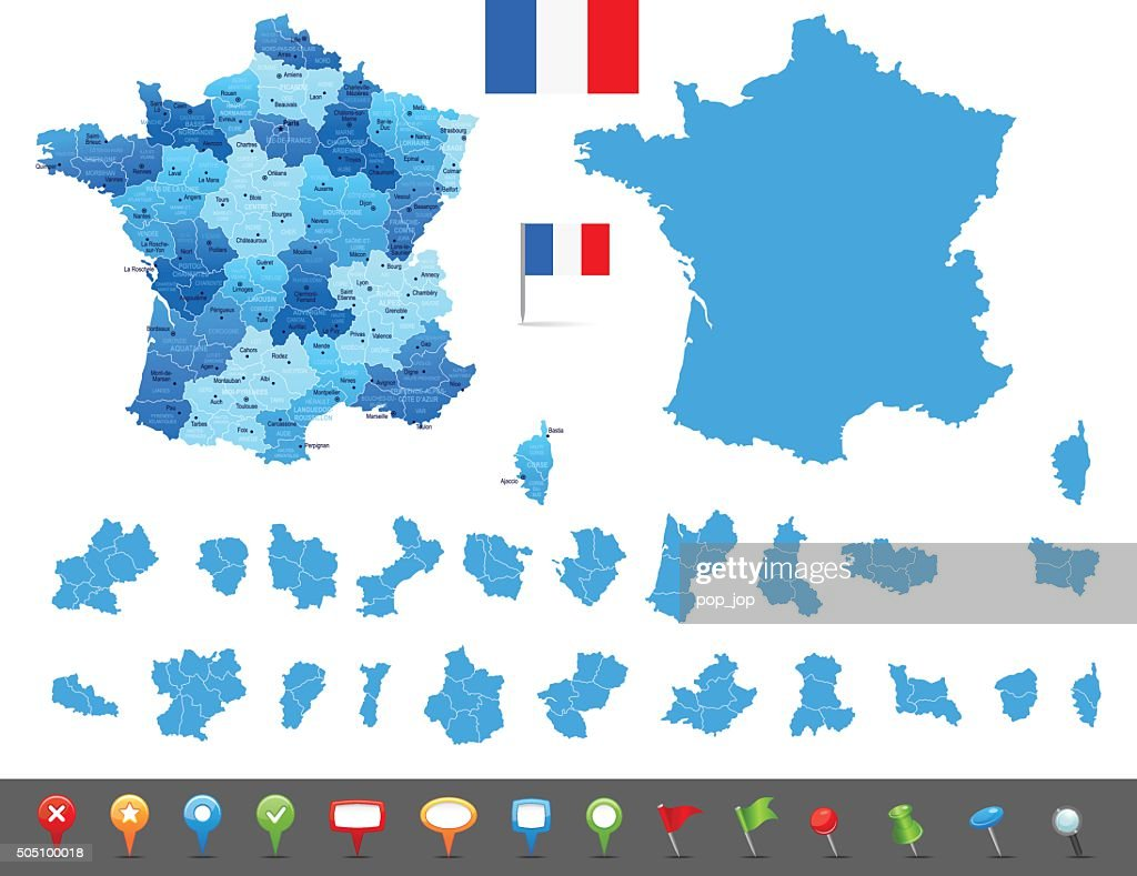Map of France - states, cities and navigation icons